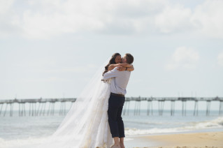 Morgan and Wesley Outer Banks Elopement Wedding by Neil GT Photography Hug